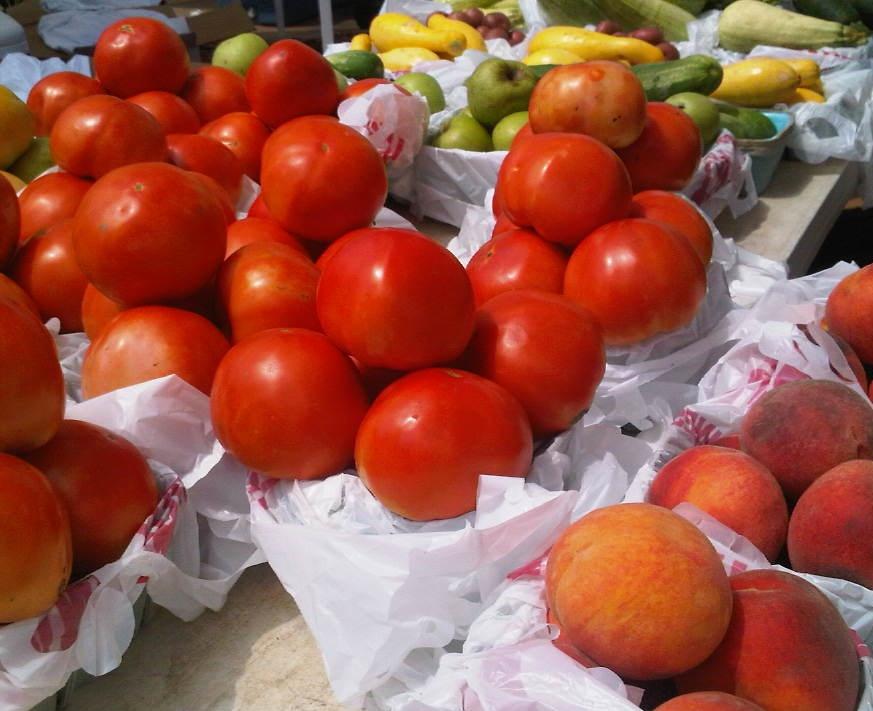 Farmers Market tomatoes peaches squash