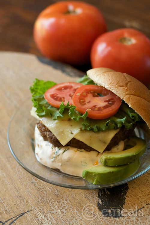 Taco Burger with Chipotle Cream Sauce
