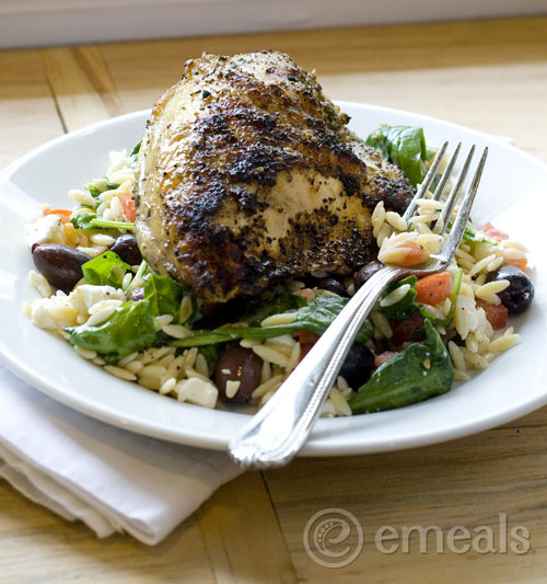 Clean Eating Oregano Chicken over Greek Orzo