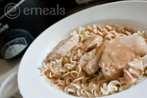 Creamy Crock Pot Pork Chops Over Egg Noodles with Simple Steamed ...