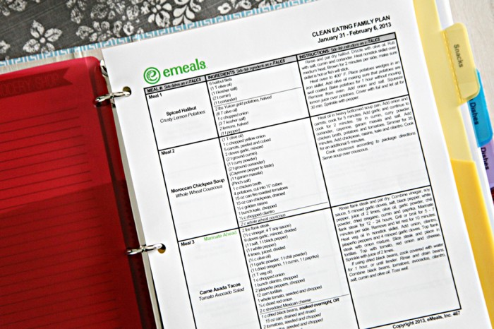 eMeals Meal Planning Binder