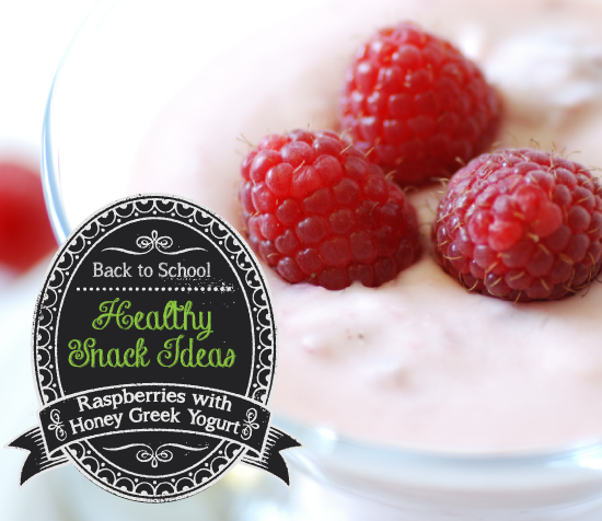 Healthy Snack: Raspberries with Honey Greek Yogurt