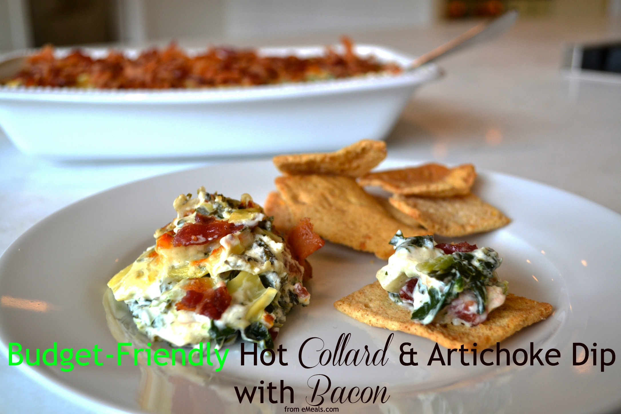 eMeals budget friendly hot bacon collard dip appetizer