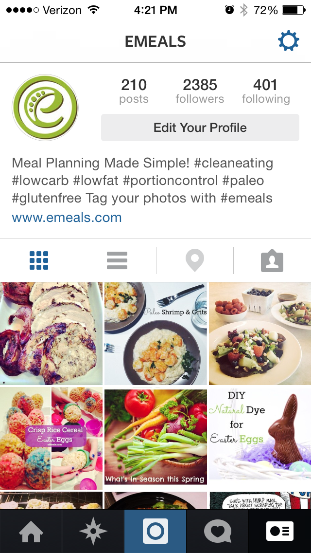 Follow eMeals on Instagram