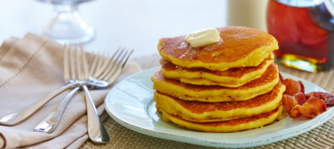Father's Day Bacon Cornmeal Pancakes