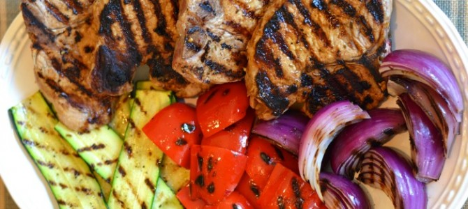 Clean Eating Grilled Pork Chops with Zucchini & Peppers