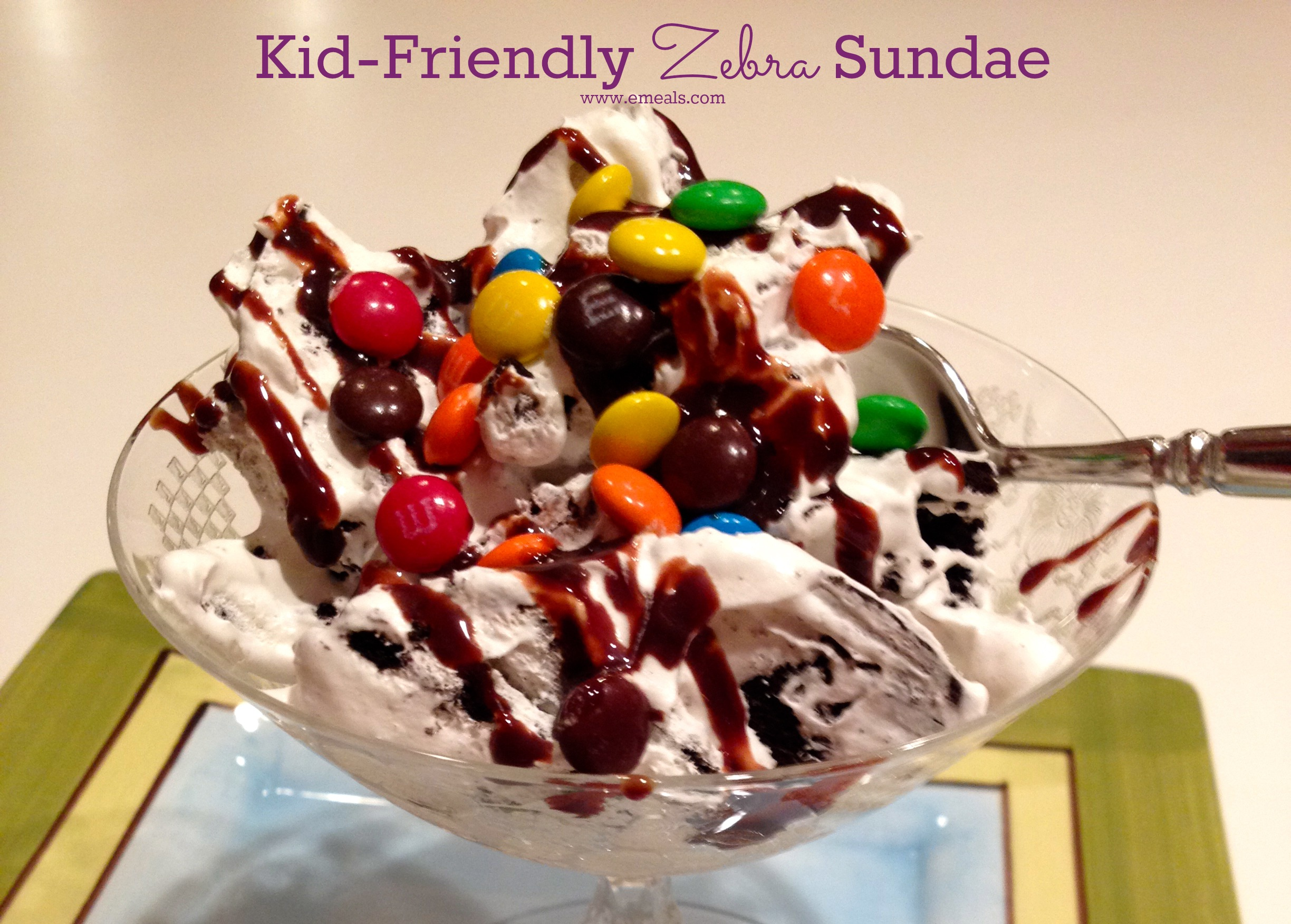 Kid Friendly Zebra Cookie Sundae from eMeals