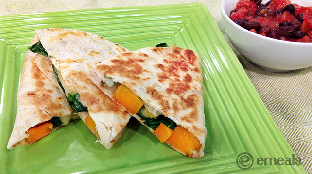 Butternut Squash-Spinach Quesadillas | eMeals
