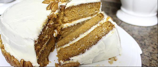 Pumpkin Layer Cake with Glazed Pecan Topping