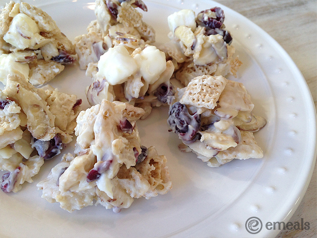White Chocolate-Cranberry Cereal Clusters | eMeals