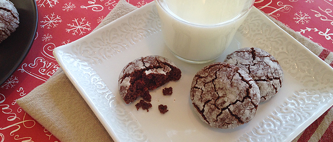 Chocolate-Peppermint Crinkle Cookies for Santa