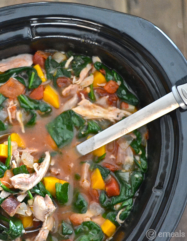 Slow-Cooker Paleo Chicken-Spinach Stew | eMeals #eMealsEats