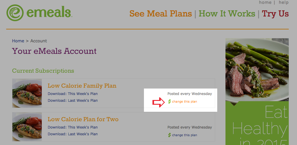 Change Your eMeals Plan
