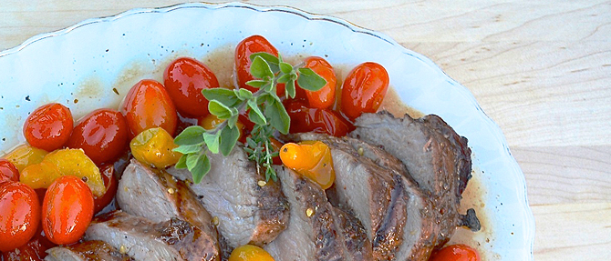 Honey-Balsamic Pork Tenderloin with Roasted Tomatoes