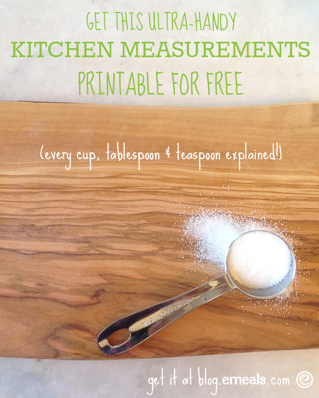 Get this ultra-handy kitchen measurements printable for FREE! #eMeals