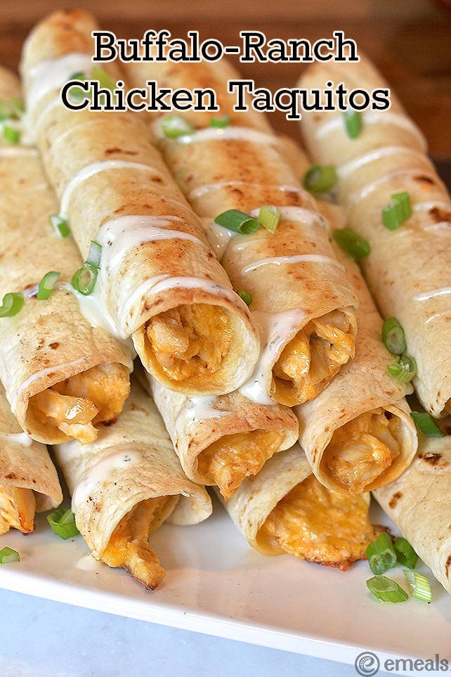 March Madness Buffalo-Ranch Chicken Taquitos | #MarchMadness #eMeals