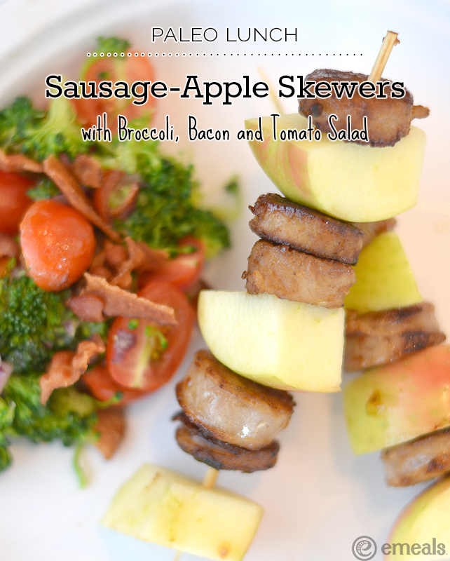 Paleo Sausage-Apple Skewers with Broccoli, Bacon and Tomato Salad | eMeals #eMealsEats