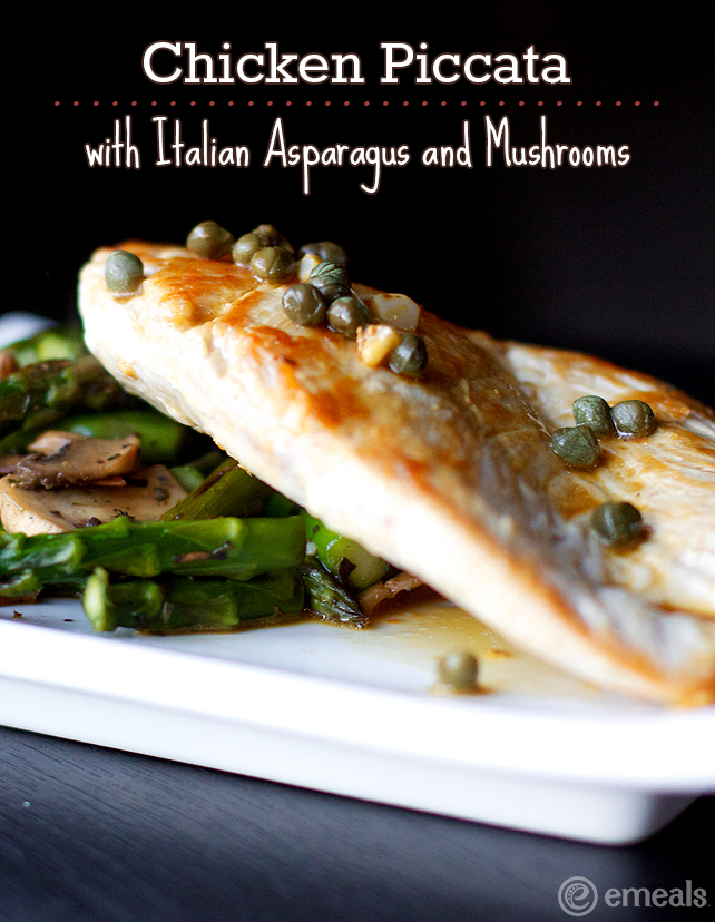 Low-Carb Paleo Dinner Recipe: Chicken Piccata with Italian Asparagus and Mushrooms | eMeals #eMealsEats