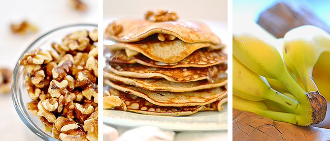 Paleo Banana-Walnut Pancakes