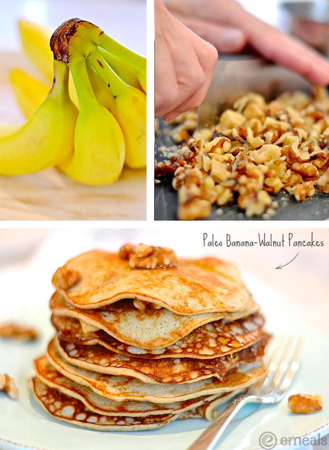 Paleo Banana-Walnut Pancakes | eMeals #eMealsEats