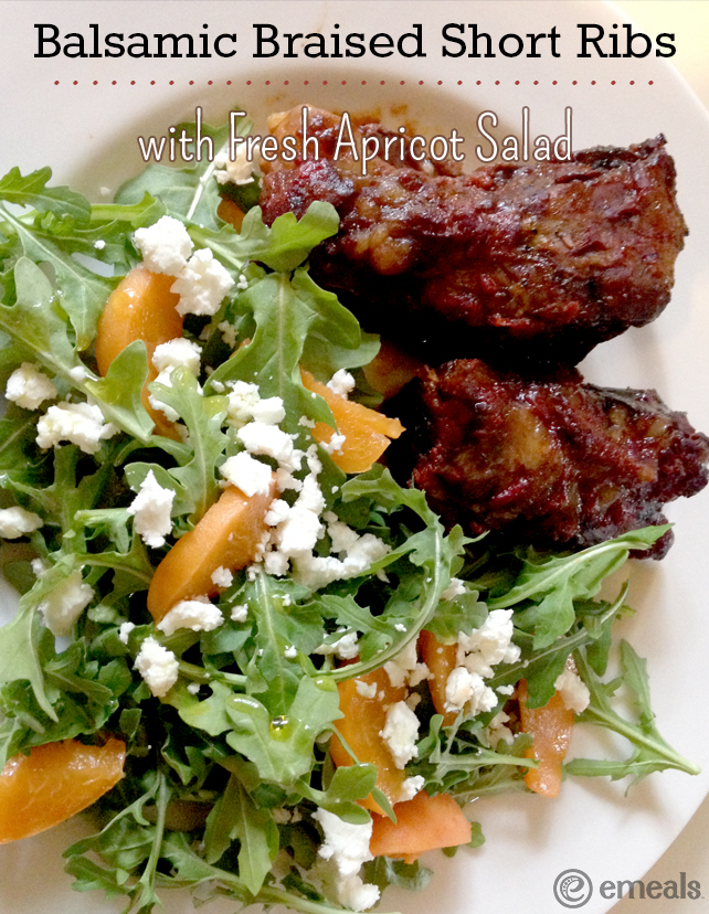 Slow-Cooker Balsamic Braised Short Ribs with Fresh Apricot Salad | eMeals #eMealsEats