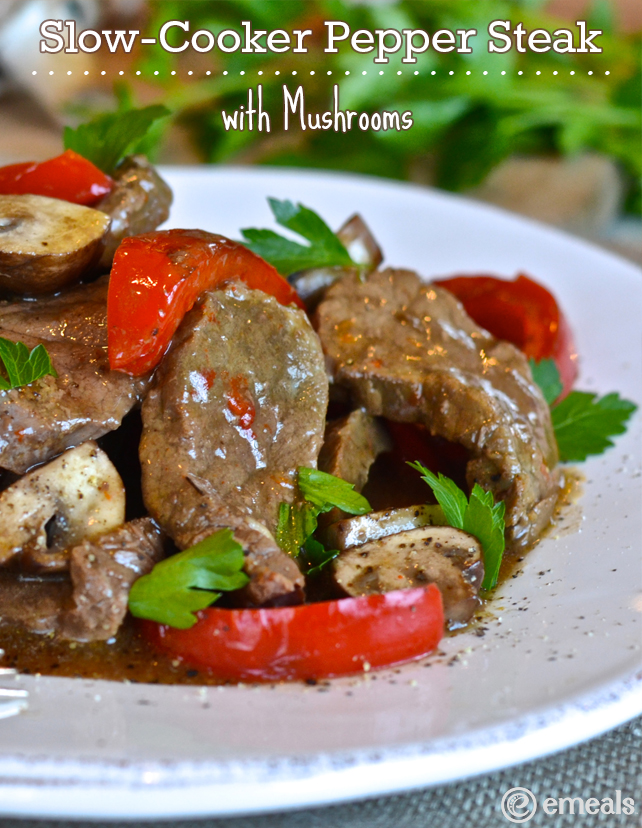 Slow-Cooker Pepper Steak with Mushrooms | The eMeals Blog