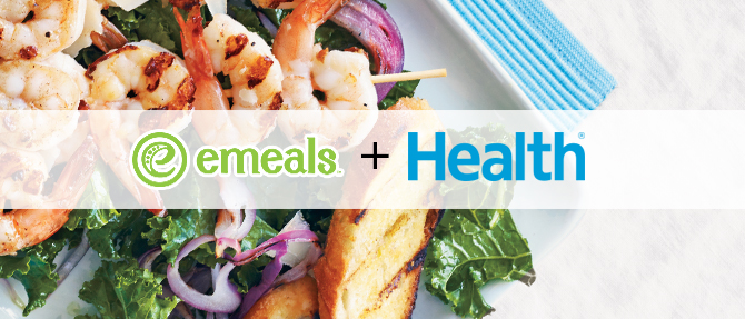 Easy Kale Caesar Salad with Grilled Shrimp from HEALTH Magazine
