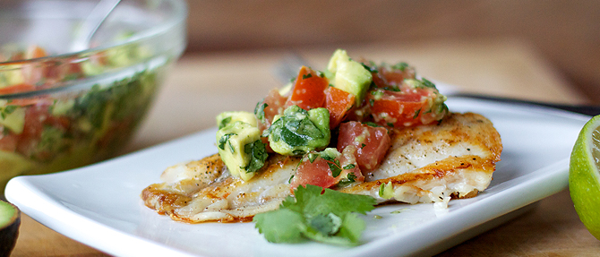 Sautéed Grouper with Tomato-Avocado Salsa