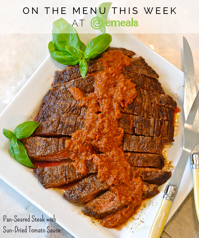 On the Menu This Week at eMeals: Pan-Seared Steak with Sun-Dried Tomato Sauce