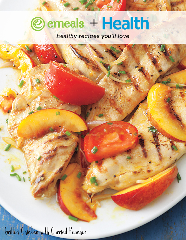 Grilled Chicken with Curried Peaches from HEALTH Magazine + eMeals