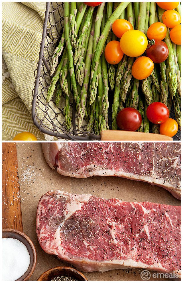 New York Strip Steaks with Cherry Tomatoes | eMeals