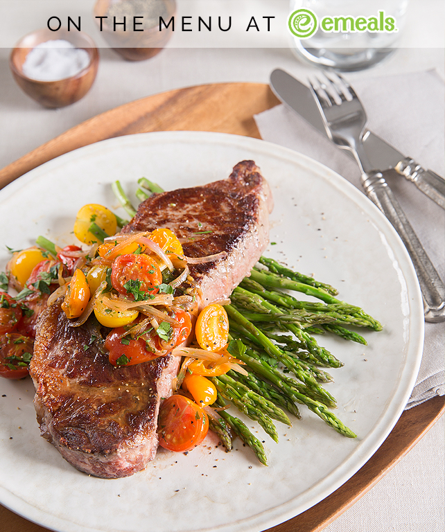 New York Strip Steaks with Cherry Tomatoes   eMeals