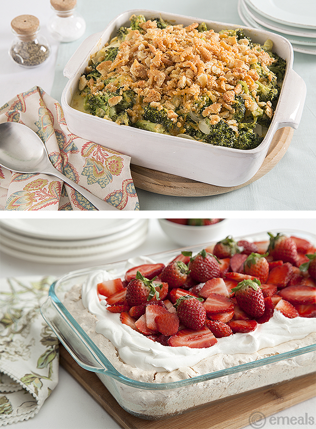 Strawberry Meringue and Broccoli Casserole Easter menu | eMeals