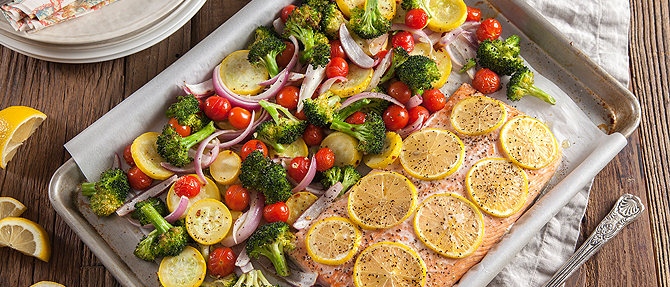 On the Menu: One-Pan Roasted Salmon and Vegetables