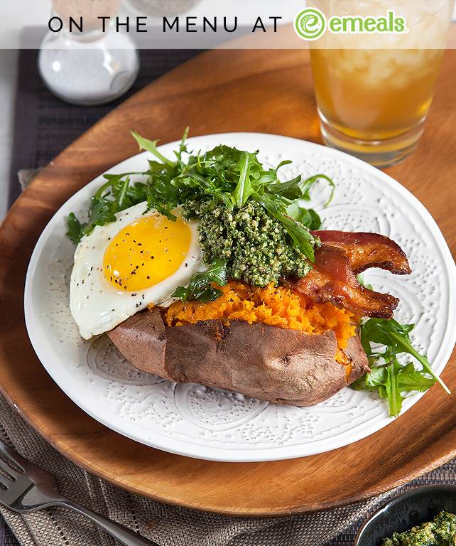 Sweet Potatoes with Arugula Pesto and Fried Eggs | eMeals