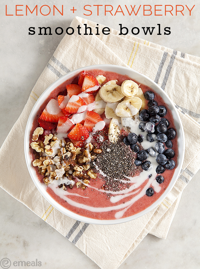 Lemon-Strawberry Smoothie Bowls | emeals